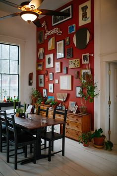 interesting wall and like the credenzas