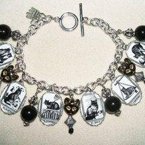 cat tarot altered art charm bracelet