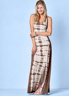 A vacation essential! Venus tie dye maxi dress with Venus caviar embellished sandal.
