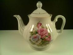 Vintage Tea Pot White & Pink Rose Flowers