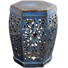 """Arabella Garden Stool - Blue   Pier 1   online only   glazed earthenware   15""""w x 13""""d x 18""""h   129.95 ea."""