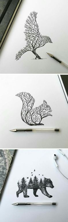 Dibujos Más illustration Pen & Ink Depictions of Trees Sprouting into Animals by Alfred Basha Easy Animal Drawings, Easy Pencil Drawings, Pencil Art, Cool Drawings, Drawing Sketches, Disney Drawings, Amazing Drawings, Drawing Animals, Beautiful Drawings