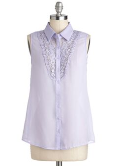 Violets Stick Together Top - Sheer, Mid-length, Purple, Solid, Buttons, Crochet, Daytime Party, Sleeveless, Collared, Casual, French / Victorian