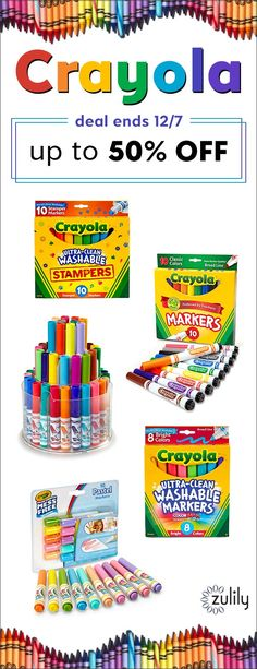 Sign up to shop Crayola, up to 50% off on zulily.com. Find all the kids' arts and crafts supplies you're looking for in this collection of crayons, markers, colored pencils, art kits, coloring books and more. Deal ends 12/7.