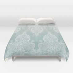 Buy ultra soft microfiber Duvet Covers featuring Lace & Shadows - soft sage grey & white Moroccan doodle by micklyn. Hand sewn and meticulously crafted, these lightweight Duvet Cover vividly feature your favorite designs with a soft white reverse side.