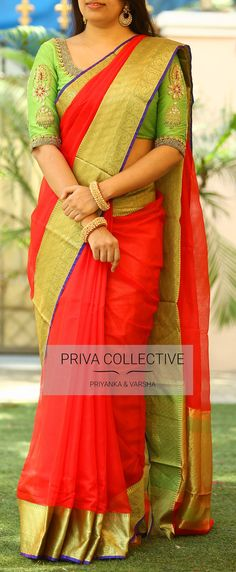 PV 3643 : Red kotaPrice       : Rs 4600Look ravishing in this bright red and green combination of pure kota sari this wedding season Unstitched blouse piece : running blouse piece / Maggam blouse as displayed is available at additional cost For Order  28 March 2018