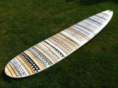 Tribal design surfboard art by Becky Hutchens, using Posca pens.