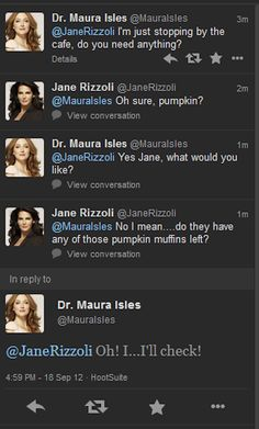 "Even the character's twitter accounts are playing it up. | ""Rizzoli And Isles"" Is The Gayest Non-Gay Show On Television"