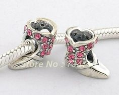 Authentic 925 Sterling Silver Pink Rhinestone Crystal Boot Shoe, DIY Loose Beads Jewelry Compatible With Pandora Bracelet XS131 $14.63