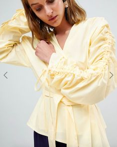 Buy ASOS WHITE Pleated Wrap Top at ASOS. With free delivery and return options (Ts&Cs apply), online shopping has never been so easy. Get the latest trends with ASOS now. 50 Fashion, Fashion Online, Fashion Outfits, Asos, Ballet Wrap Top, White Cami Tops, Wrap Tie Top, Long Sleeve Wrap Top, Wrap Shirt