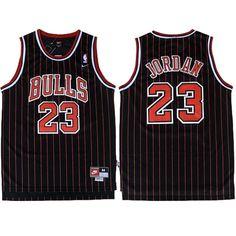 Michael  Jordan 23 Stripe Black and Red  Jersey. Chicago Bulls Retro Jersey. 299be2e6f