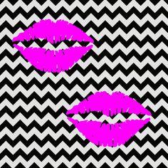 imagem para quadrinho - fundo zig zag preto e branco bocas rosa- beijo-Blog Dikas e diy