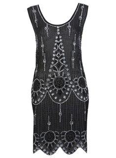 Black Flapper Embellised Dress