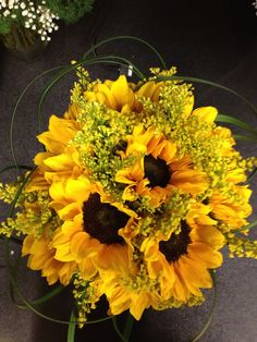 Simple seasonal sunflowers make for a beautiful bouquet that I made.