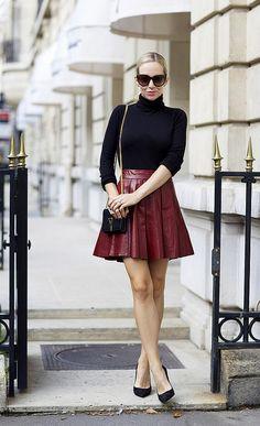 burgundy leather skirt chic via brooklynblonde