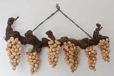 cork ornaments | Hanging Cork grape clusters #Texas #Wine #Art | YES! More wine bottle ...