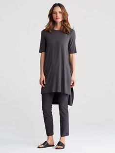 Round Neck Elbow-Sleeve Tunic in Lightweight Viscose Jersey-S7VFF-T4102