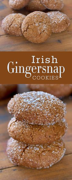 Irish ginger snap cookies are great treat at Irish holidays, everyone loves it!These Irish ginger snap cookies are great treat at Irish holidays, everyone loves it! Köstliche Desserts, Delicious Desserts, Dessert Recipes, Yummy Food, Appetizer Recipes, Irish Recipes, Sweet Recipes, Baking Recipes, Cookie Recipes