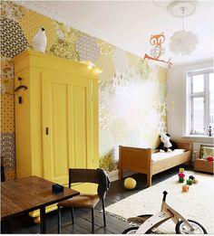 hexagon patchwork wall + yellow wardrobe