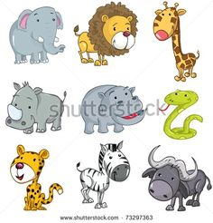 Set of cute cartoon animals. A rhino,lion,giraffe,elephant,hippo,snake,leopard,zebra and buffalo