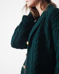Vintage Fisherman Knit Cardigan in Dark Green Melange