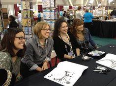 Swarovski Elements Ambassadors Jamie Hogsett, Katie Hacker, Anna Elizabeth Draeger, and Lisa Pavelka at a book signing.