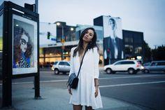 fashiontoast   01/24/2014 moonlit melrose Bash Paris' simple oversized robe dress and Goyard's shoulder bag.