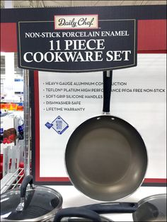 Not only is this Daily Chef frying pan on hang rood instantly recognizable, but I liked its use here as visual mass to help bring your eye to the main brand identification and bullet pointed list o...