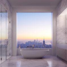 Строительство небоскреба 432 Park Avenue почти завершено. А значит, скоро вы сможете понежиться в такой ванне вдвоем, наблюдая за Нью-Йорком с высоты более 400 метров.   Источник: http://www.adme.ru/svoboda-puteshestviya/15-mest-gde-hochetsya-pobyt-vdvoem-780260/ © AdMe.ru
