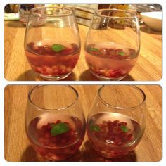 Pomegranate, fresh mint, water and a shot of Gin :)