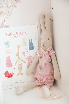 .adorable rabbit and pjs