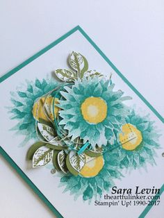 Sara Levin | theartfulinker.com Click the picture to see more of Sara's Designs. Painted Harvest in Bermuda Bay. Holiday Catalog 2017. Color combo. Stamped flowers. Handmade cards, rubberstamps, cardmaking, stampinup, stamping, saralevin, theartfulinker