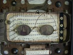 """""""I See You"""" Photos in Vintage Eyeglasses Displayed in a Tin"""