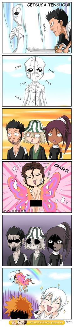 Bleach - Breaking the Cocoon by kyuyoukai on deviantART - Isshin, Urahara, and Yoruichi's reactions though, priceless!