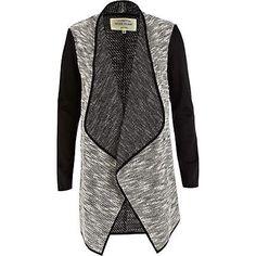 Black boucle waterfall longline jacket $70.00