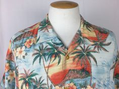 Tommy Bahama XL Camp Shirt 100% Silk Diamond Head Sunset Island Modern Fit  | eBay