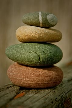 Pebble stack 2 | Flickr - Photo Sharing! and then you find that rock on the beach that is really that green.