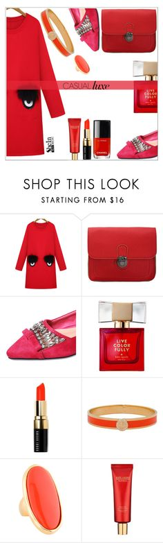 """""""Red!"""" by simona-altobelli ❤ liked on Polyvore featuring WithChic, Kate Spade, Bobbi Brown Cosmetics, Halcyon Days, Kenneth Jay Lane and Estée Lauder"""