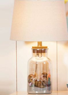 fillable glass table lamp with shade
