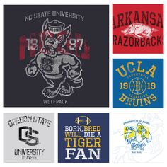 Men's Collegiate Graphics--Original screen print graphics done for seasonal apparel lines.  (see more by clicking image, and then clicking on image again)  © Gear for Sports, Inc.