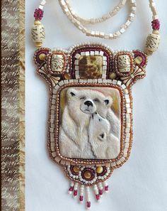 Hand cut out hand painted bone Beaded bone by MarusyaKacharizkina