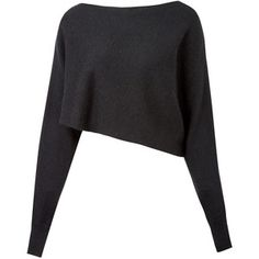 Crea Concept Black Asymmetric Crop Alpaca-Blend Jumper