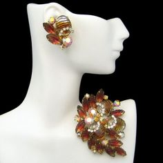 Vintage High End Fruit Salad Brooch Pin Earrings Art Glass Rhinestone Gold Plate #Unbranded #ArtGlassFruitSaladHighEndSet