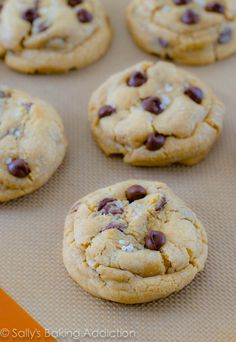 Super-Thick Salted Caramel Chocolate Chip Cookies. These extremely thick, puffy, soft, and chewy chocolate chip cookies are stuffed with gooey caramel and topped with sea salt!
