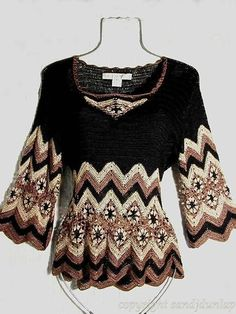 New Woman's Crochet Patterns Part 34 - Beautiful Crochet Patterns and Knitting Patterns Moda Crochet, Crochet Tunic, Freeform Crochet, Crochet Jacket, Crochet Clothes, Free Crochet, Crochet Tops, Crochet Woman, Crochet Fashion
