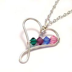 Handmade Heart Birthstone Necklace - Mother Necklace - Family Necklaces - Handmade Birthstone Jewelry