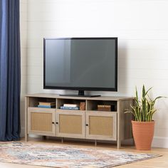 Oak & Faux Rattan TV Stand - Balka | RC Willey Furniture Store