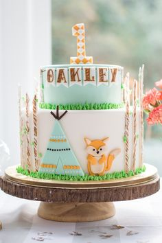 Woodland cake from a Wild & One First Birthday Party on Kara's Party Ideas | KarasPartyIdeas.com (32)