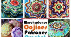 Decoración con almohadones al crochet- Patrones de distintos modelos puntos zig zag y grannys