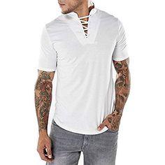 Mens Fashion Bust Bandages Tees V-neck Short Sleeve Regular Fit Casual Cotton T Shirts Lace Up T Shirt, Trendy Mens Fashion, Fashion Seasons, Henley Shirts, Mens Tees, Shirt Men, Men Casual, V Neck, Sleeves